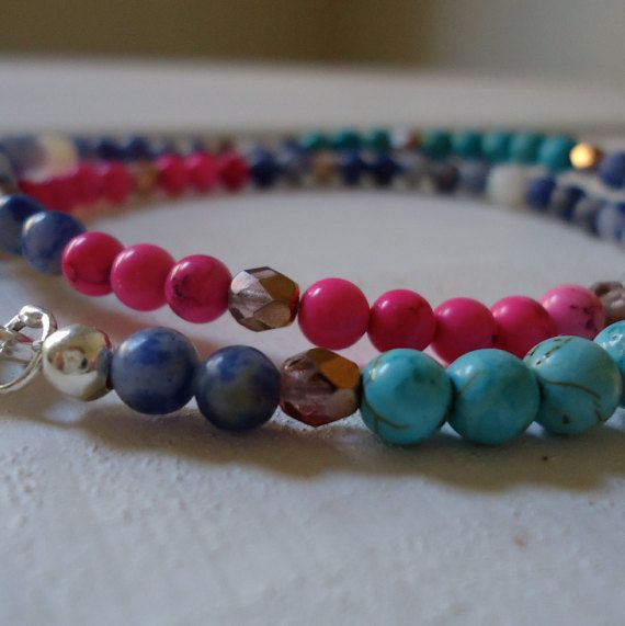 Remembering Summer: a slim stacking bracelet of semi by CustardFox