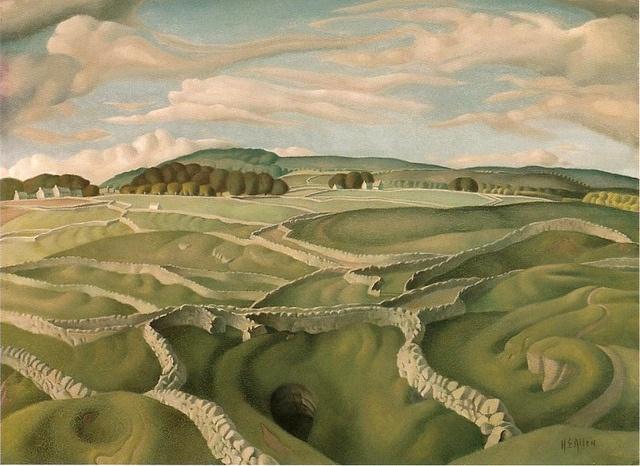 'Derbyshire Walls', tempera on canvas by Harry Epworth Allen, 1930s