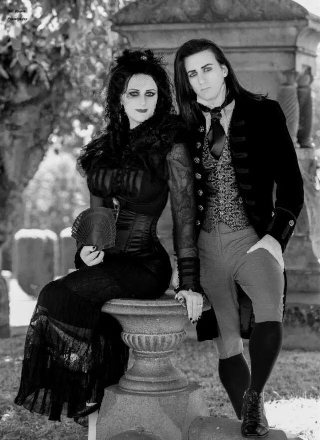 Gothic couple. Goths. Fashion models