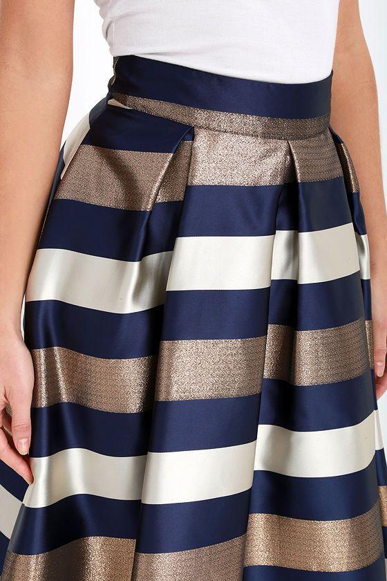 Navy Blue and Bronze Striped Midi Skirt