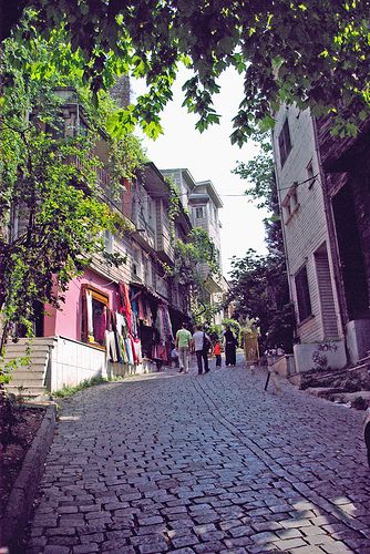 Historic wooden mansions on Sogukcesme Street, Istanbul