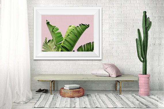 Palm Leaf Print, Tropical Decor, Pink Green Wall Art, Printable Palm, Palm Leaves, Banana Leaves, Tropical Plant, Trend Decor, Large Poster