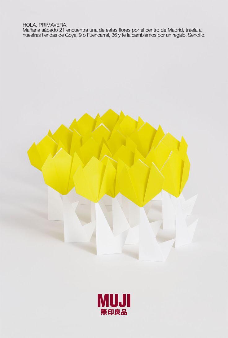 MUJI. 15.000 origami flowers to celebrate Spring