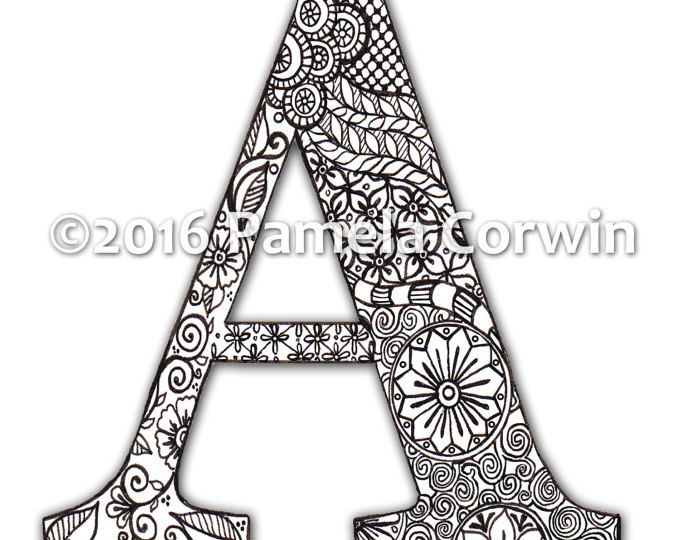 letter l zentangle inspired by the font quot harrington
