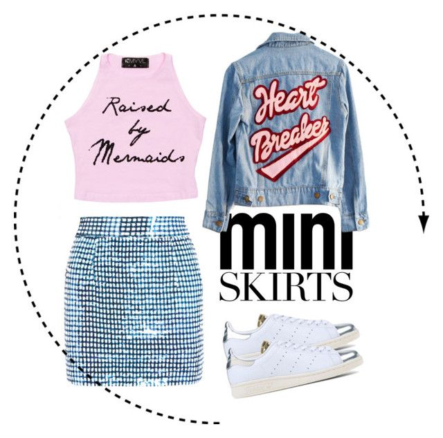 """""""Mini Me: Ashish Sequin Silk Georgette Mini Skirt"""" by renee-bu on Polyvore featuring Ashish, adidas Originals and High Heels Suicide"""