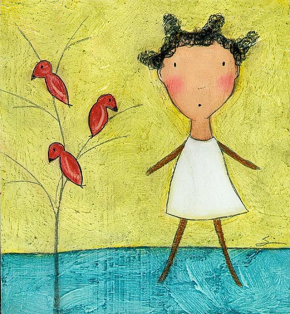 girl: Girl, Etsy, Carla Sonheim, Illustration, Three Red, Red Birds