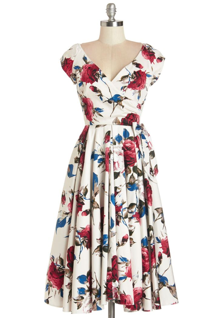 Layered Cupcakes Dress in Red and Blue. As sweet as a tiered dessert spread, this fit-and-flare dress adds delight to the day.  #modcloth