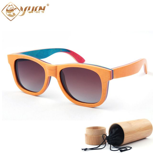 Better Price $26.99, Buy Skateboard wooden sunglasses women brand designer glasses fashion men polarized sun glasses wood oculos de sol W3008