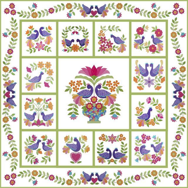 """My Tweets"" by Erin Russek . .full pattern - free applique quilt"