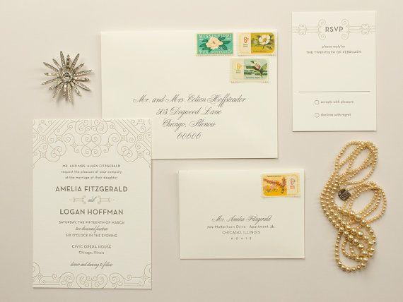 1920s Art Deco Letterpress Wedding Invitation, metallic gold letterpress