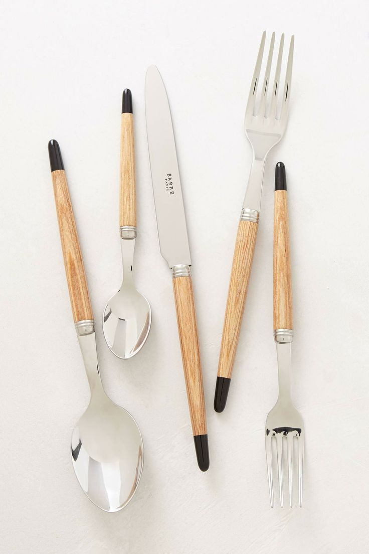 Anonymous; Stainless Steel, Wood and Acrylic 'Aquarelle' Cutlery by Sabre, 2010s.