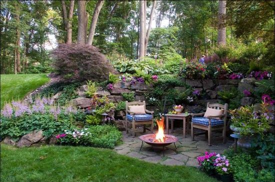 sloped landscaping   Landscaping Ideas / grotto built into steep slope