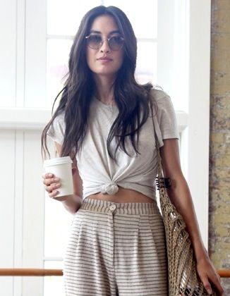 Model-Off-Duty Style: Jessica Mau Masters a Boho Coffee-Run Look via @WhoWhatWear