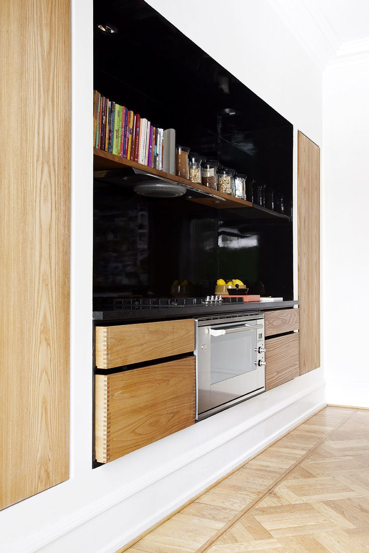 """Stunning oiled American elm niche kitchen with island, Scandinavian designed joinery kitchen, and countertops in granite. This is a combination of our """"Model Recessed"""" and """"Model Minimal""""."""