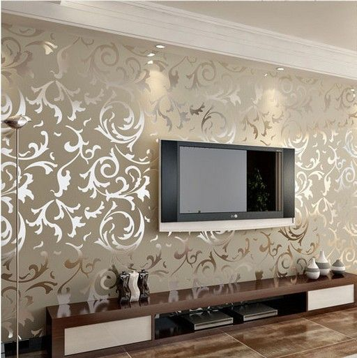Wallpaper Living Room Wall Small Furniture Design Ideas Luxury Embossed Patten Textured High End 10m Gold Silver Cream Quality Repurpose Pinterest Decor And