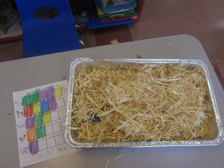Farm- find the animals in the hay game- I hid toy farm animals in the hay and the kids took turns looking for them ans every time an animal was found everyone colored a box in on the graph.