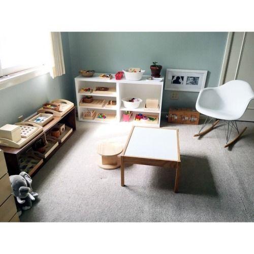 A child's work space in a Montessori home.