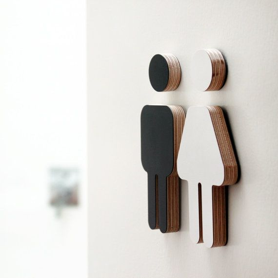 Small decor bathroom sign plywood reversible black & by mooza