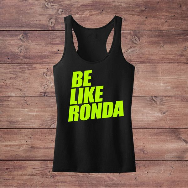 Be Like Ronda Rousey Ufc Mma Champion Racerback Tank Crossfit Gym... ($22) ❤ liked on Polyvore featuring activewear, activewear tops, black, tanks, tops, women's clothing, fluorescent shirts, black shirt, jersey shirts and neon activewear