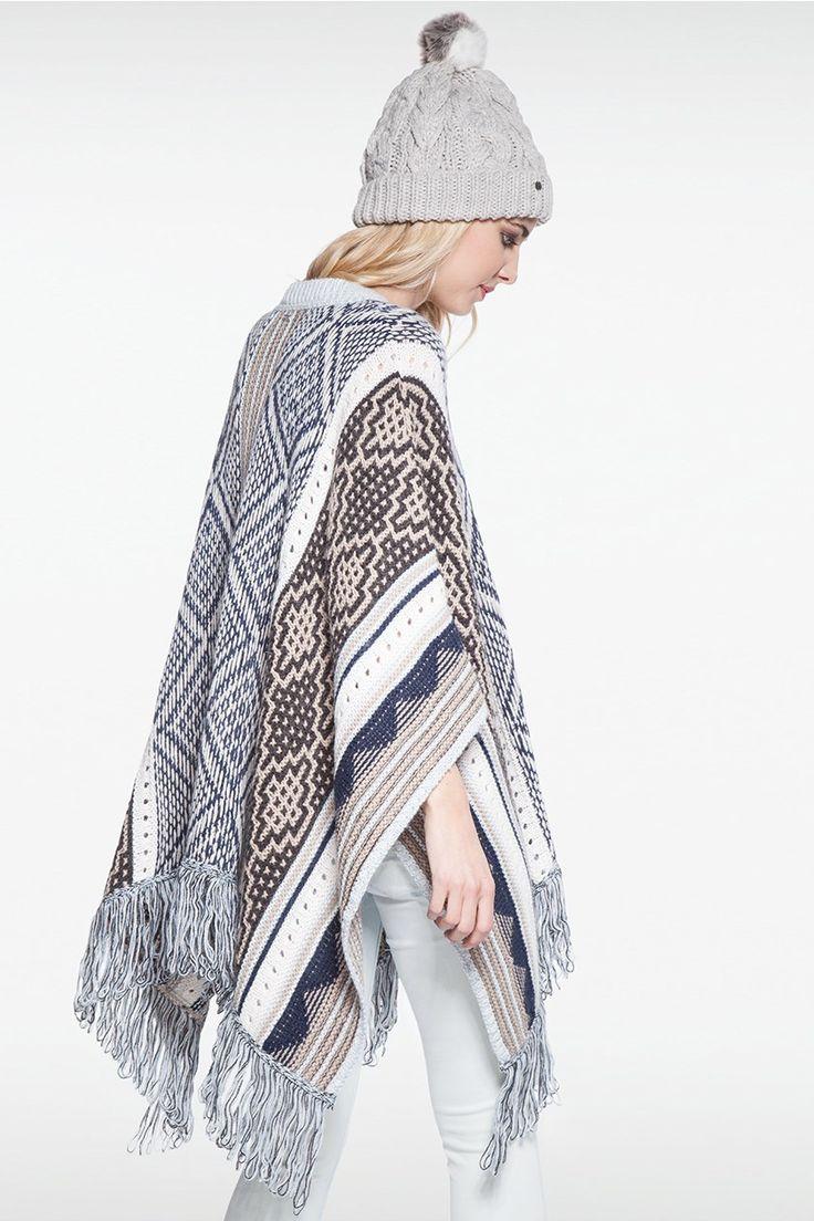 Poncho femme motif géométrique franges