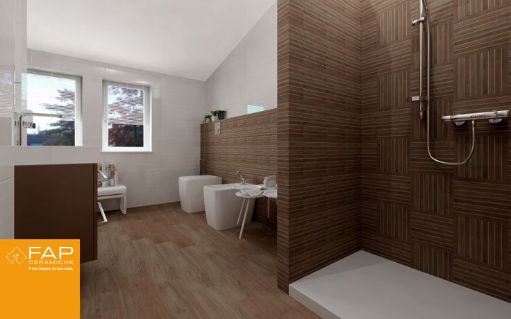 Bathroom Tiles Wood Effect a very large #bathroom with walnut wood effect #tiles on the floor