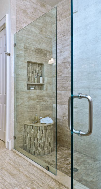 Bathroom design trend #6:Large, spacious showers, with an ample seat that also serves as a decorative feature in the bath.