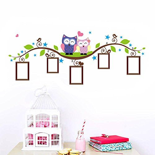 133cm52cm Couple Owl Photo Frame Kids Baby Room Wall Stickers Removable Family Vinyl Decal Art Modern Home Decor Wallpaper A18 ** Read more reviews of the product by visiting the link on the image. (Note:Amazon affiliate link)
