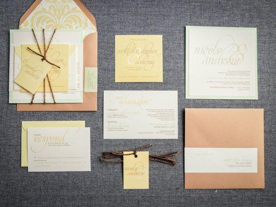 Rustic Wedding Invitations, Vintage Wedding Invitations, Yellow and Green Invitations by JulieHananDesign