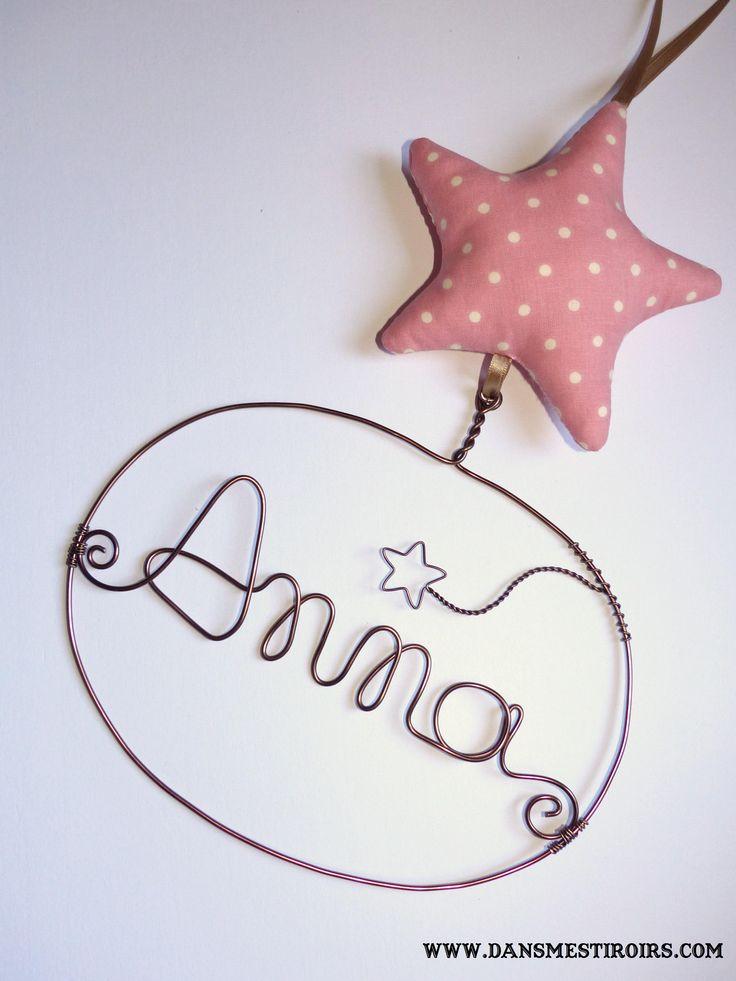 Une étoile personnalisée -Naissance, baptême anniversaire- Cadeau déco chambre enfant-  Faite par www.dansmestiroirs.com