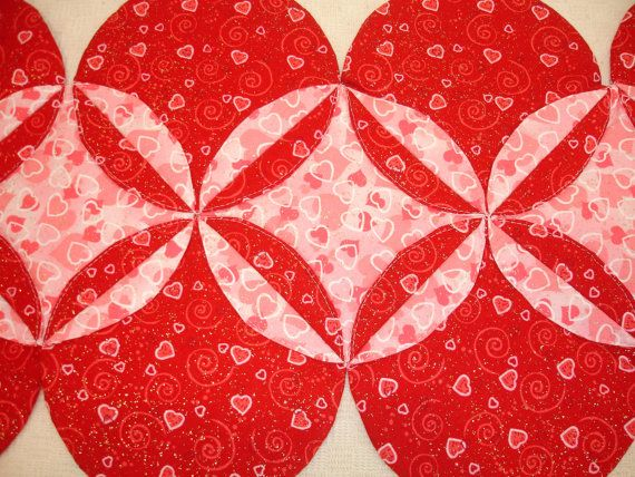 Valentine Table Runner Quilt - Pink, Red, Gold, Hearts - interesting Orange Peel pattern.