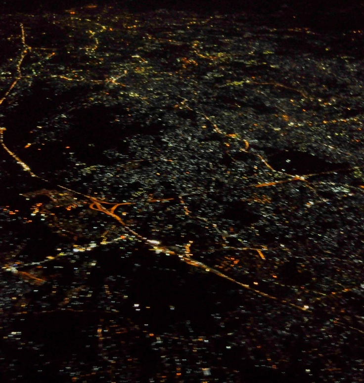 Amazing view of Jakarta City from above. This picture was taken through an aeroplane window.