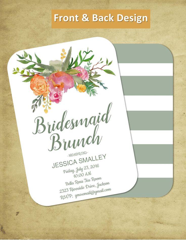 Bridal Brunch | Customizable | Bridal Shower | Bridesmaids Brunch Invitation | Luncheon | Tea Party Invite | Elegant | Watercolor by PerfectedbyGrace on Etsy