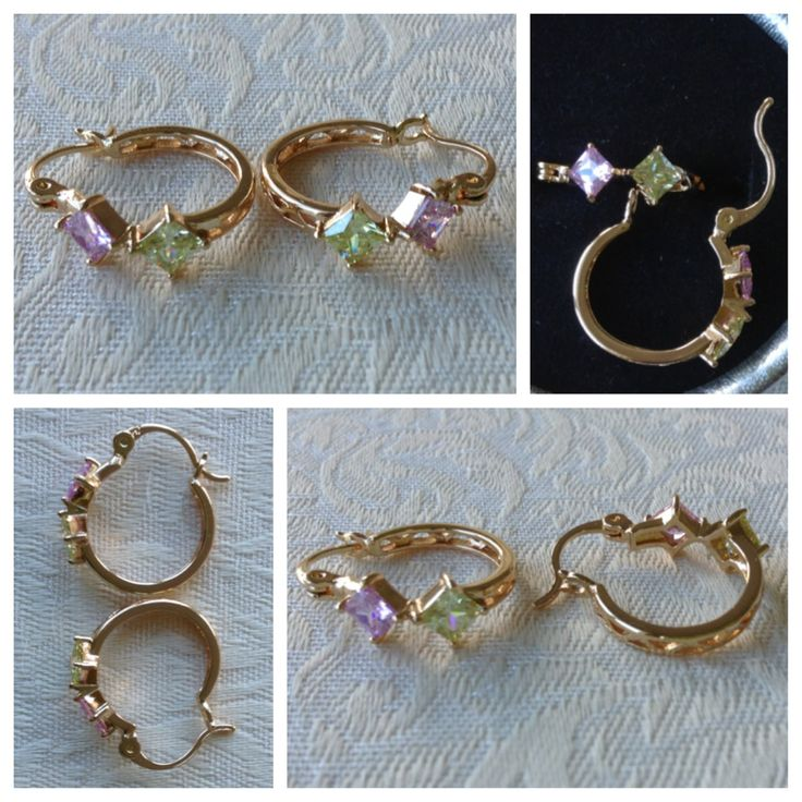 9K yellow gold-filled hoop earrings with cutouts & pink/green CZ bling @ AUD$12.00 + postage or local pick up available (2 in stock)