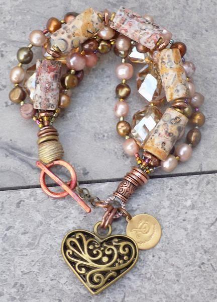 Pink Copper Bronze Leopard Jasper Crystal & Pearl Heart Charm Bracelet