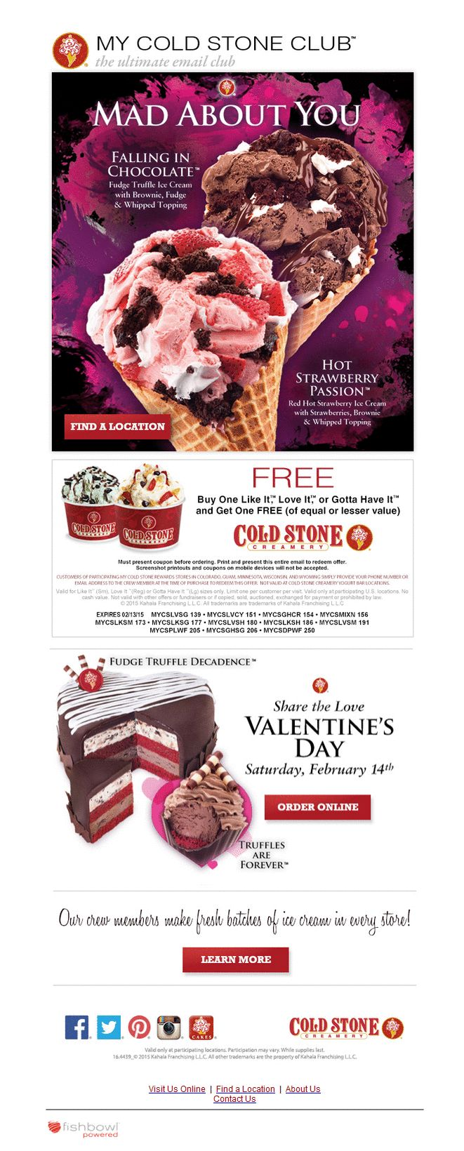 Buy one, get one FREE Cold Stone ice cream coupon!