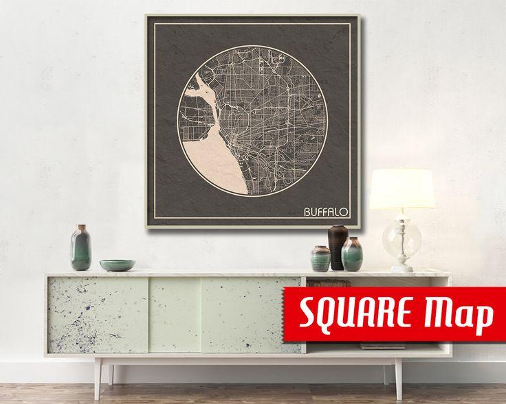 BUFFALO NY SQUARE Map Buffalo New York Poster City Map Buffalo New York Art  Print Buffalo
