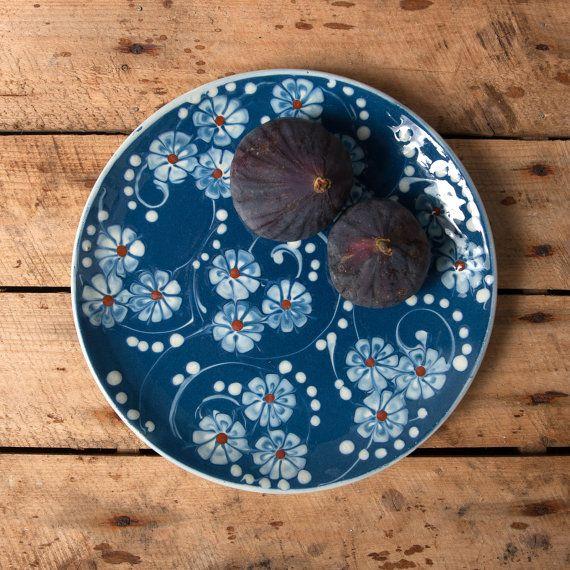 Kahler plaat hak studio aardewerk Denemarken Deense bloemen blauw witte…