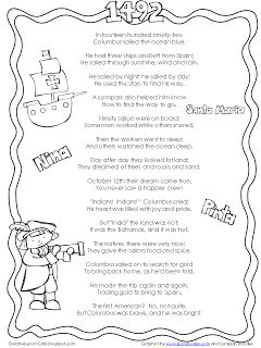Freebie! Christopher Columbus poem from http://creativelessoncafe.blogspot.com