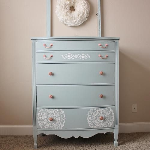 Upscale Vintage Dresser Makeover -- Give an old dresser an upscale look.  #decoartprojects