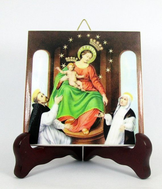 A nice Catholic icon on ceramic tile #handmade in Italy  Virgin of the Rosary of Pompei A perfect (and cheap) #Catholic gift idea  https://www.etsy.com/listing/228146928/our-lady-of-the-holy-rosary-of-pompei
