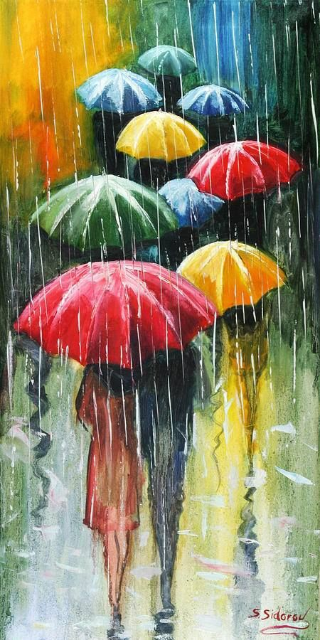 "Umbrellas - ""GICLEE Print on CANVAS From Original Oil Painting UMBRELLAS Series Size 13inX26in From Sidorovart"" - Yelena and Stanislav Sidorov (sidorovart)"