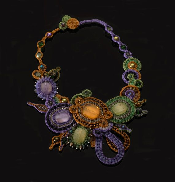 Soutache necklace Jamaica by PaolaGriffoSoutache on Etsy