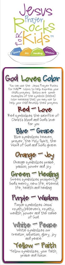 teaching tool for children's prayers - poster paint the rocks in the colors and write the 'key' on the rock afterwards.