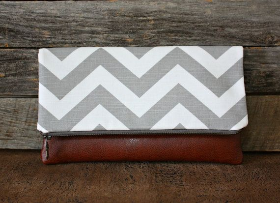 Gray and White Chevron Foldover Clutch / Kindle by SweetPeaTotes