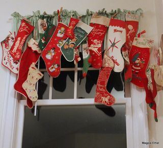 stocking collection.  Did this on curtain rod with 3 stocking holders so it held a lot of stockings.