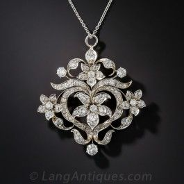 Edwardian Diamond Heart and Flower Pendant