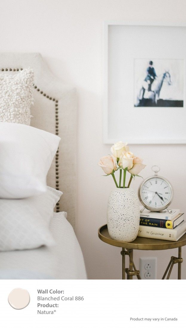 Benjamin Moore's Natura Paint Blanched Coral makes my white linens pop [ad]