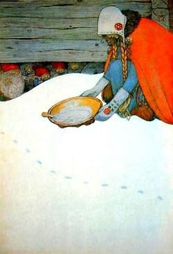 John Bauer (woman putting out porridge for the Tomtwn , Swedish Christmas tradition)