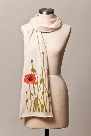 Poppy Illustration Scarf - Cream