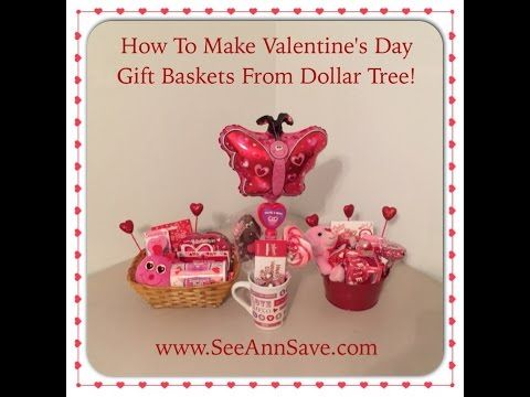 How To Make Valentine's Day Gift Baskets from the Dollar Tree! - YouTube